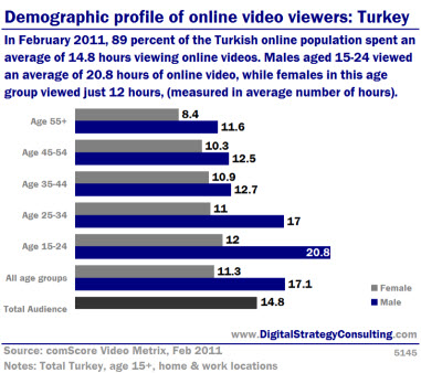 Demographic profile of online video viewers: Turkey. In February 2011, 89% of the Turkish online population spent an average of 14.8 hours viewing online videos. Males aged 15-24 viewed an average of 20.8 hours of online video, while females in this age group viewed just 12 hours, (measured in average number of hours).