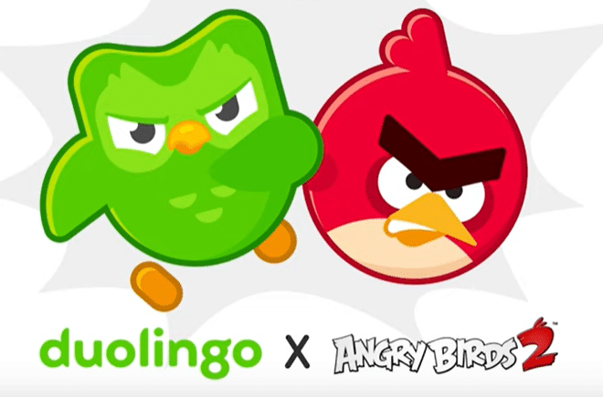 Duolingo owl joins Angry Birds in marketing crossover