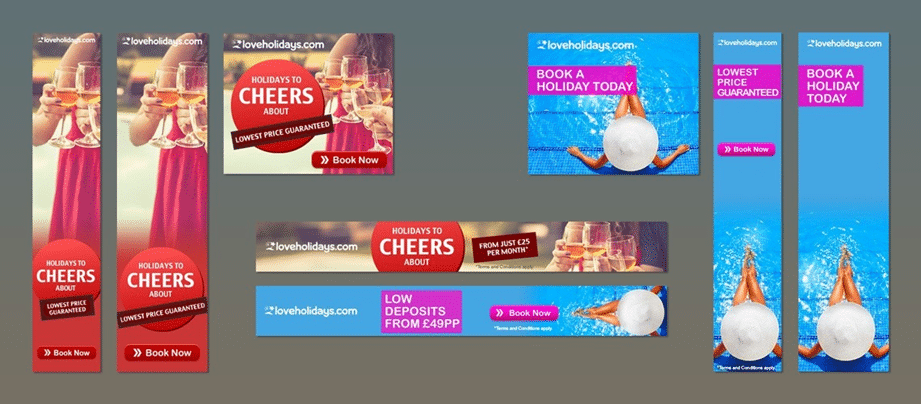 Example Loveholidays banner ads