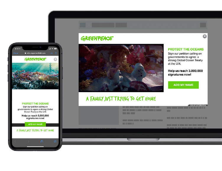Greenpeace boosts customer sign ups with video ads to help protect ocean wildlife
