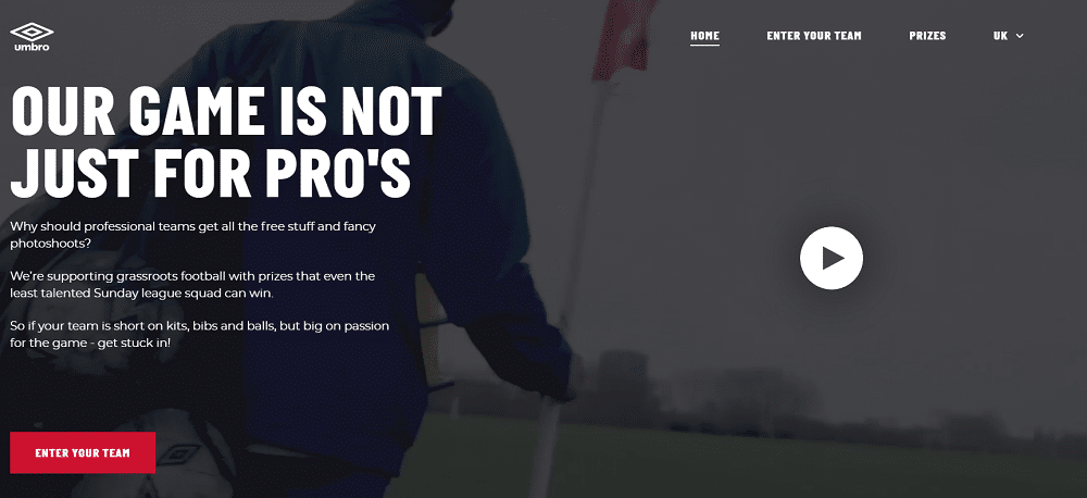 Umbro hires Absurd to design global web platform