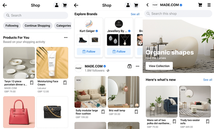 Facebook launches shopping tool in the UK and Canada