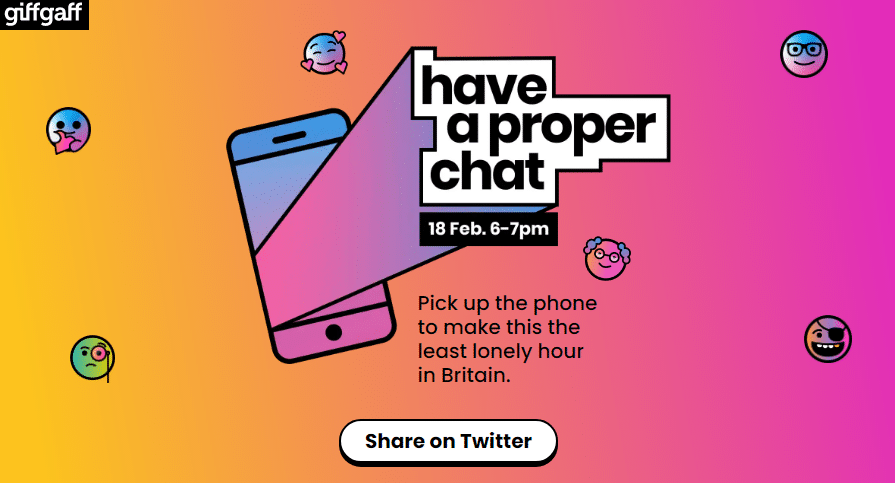 giffgaff and Global create Britain's least lonely hour with the launch of 'Have a Proper Chat'