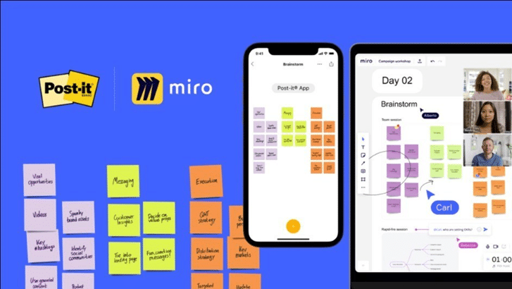 Post-it app partners with Miro to help teams share ideas online